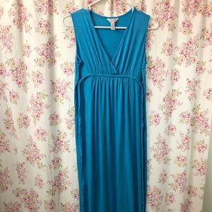 Maternity Maxi Dress Small Blue Sleeveless